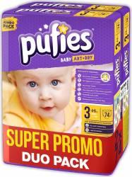 Pachet promo 2x Scutece Pufies Baby Art midi NR 3-74 pcs jumbo pack