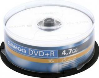 DVD+R 4.7GB 16x Omega 25 buc CD-uri si DVD-uri