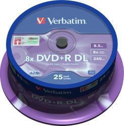 DVD+R DL 8.5Gb 8X Verbatim 25 buc set Matt Silver Spindle CD-uri si DVD-uri