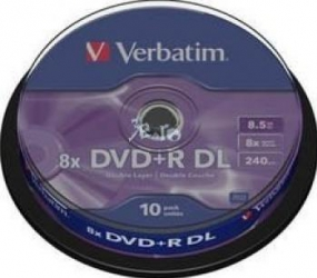 DVD+R DL 8.5GB 8X Verbatim 10 buc set Spindle CD-uri si DVD-uri