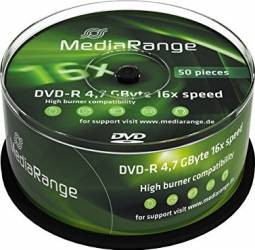 DVD-R 4.7GB 16x MediaRange 50 buc set Cake50 MR444 CD-uri si DVD-uri