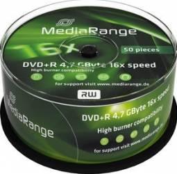 DVD+R 4.7GB 16x MediaRange 50 buc set Cake50 MR445 CD-uri si DVD-uri