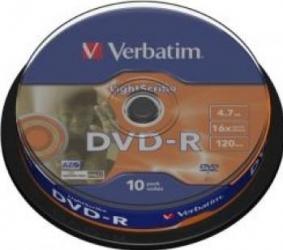 DVD-R 4.7GB 16X Verbatim 10 buc set Spindle MATT SILVER SURFACE CD-uri si DVD-uri