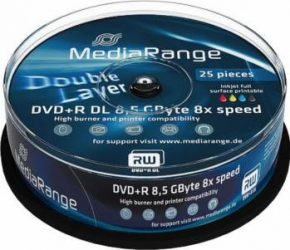DVD+R Double Layer 8.5GB Printable 8x MediaRange 25 buc set Cake25 MR474 CD-uri si DVD-uri