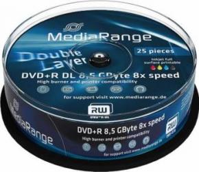 DVD+R Double Layer 8.5GB Printable 8x MediaRange 25 buc set Cake25 MR474