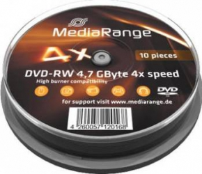 DVD-RW 4.7GB 4x MediaRange 10buc set Cake10 MR450 CD-uri si DVD-uri