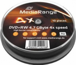 DVD+RW 4.7GB 4x MediaRange 10buc set Cake10 MR451 CD-uri si DVD-uri