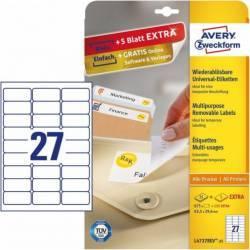 Etichete universale Avery Zweckform 63 5x29 6 mm Alb Articole and accesorii birou