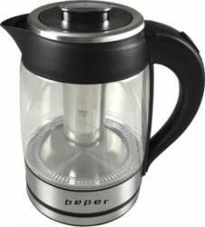 Fierbator 2 in 1 Beper pentru apa si ceai 2200W 1.8L Negru-arginitu Fierbatoare