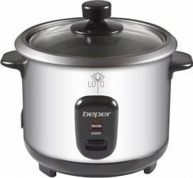 Fierbator de orez si aparat de gatit cu aburi 2in1 Beper 400W Negru-argintiu Aparate de gatit cu aburi