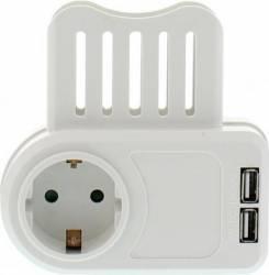 Fisa Well SCHUKO cu 2x 1.05A USB cu suport telefon  Prize