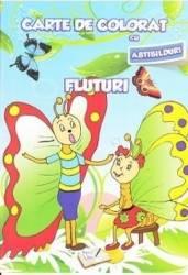 Fluturi - Carte de colorat cu abtibilduri