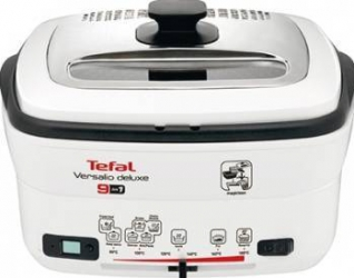 Multicooker 9 in 1 Tefal Versalio Deluxe FR495070, 1600 W, 1 kg, Bol detasabil, Alb/Negru  Friteuze