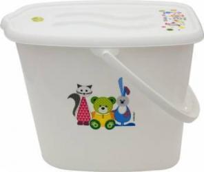 Galeata pentru scutece cu capac MyKids Bear and Friends Alb Olite si reductoare WC
