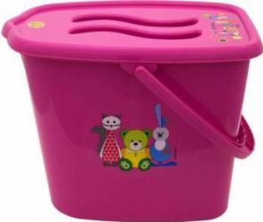 Galeata pentru scutece cu capac MyKids Bear and Friends Roz Olite si reductoare WC