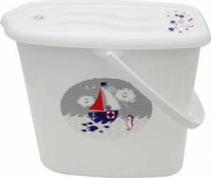 Galeata pentru scutece cu capac MyKids Ocean and Sea Alb Olite si reductoare WC
