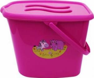 Galeata pentru scutece cu capac MyKids Zoo Roz Olite si reductoare WC