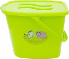 Galeata pentru scutece cu capac MyKids Zoo Verde Olite si reductoare WC