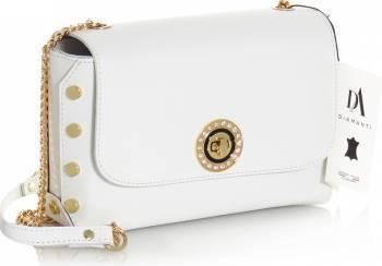 Geanta din piele naturala model DiAmanti Barletta Bianco Genti de dama