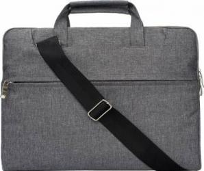 Geanta Krasscom laptop macbook 15 inch compartimentata cu maner si curea gri Genti Laptop