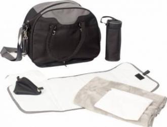 Geanta multifunctionala cu accesorii incluse BO Jungle pentru bebelusi neagra Genti pentru mamici