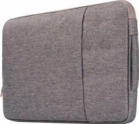 Geanta Krasscom pentru laptop macbook 15 inch din material denim cu buzunar exterior si fermoar gri Genti Laptop
