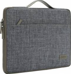 Geanta DOMISO pentru laptop macbook 13 inch cu maner si fermoar dublu compartimentata gri Genti Laptop