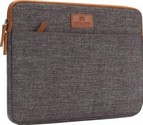 Geanta DOMISO pentru laptop macbook 14 inch compartimentata cu maner si fermoar dublu maro Genti Laptop