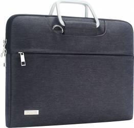 Geanta DOMISO pentru laptop macbook 14 inch compartimentata si rezistenta la apa cu maner si curea gri Genti Laptop