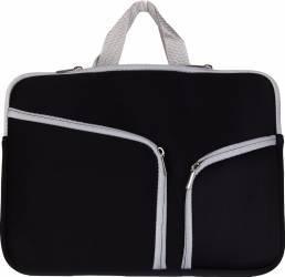 Geanta pouch Krasscom pentru Mackbook Laptop 15 inch fashion cu doua buzunare si fermoar negru Genti Laptop