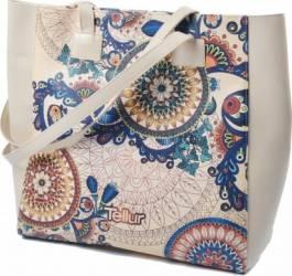 Geanta Plaja Tellur Fashion Line Summer Traditional Beige Accesorii Cosmetice