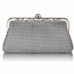 Geanta clutch argintie din acrilic Leesun de dama LSE0047 Genti de plaja