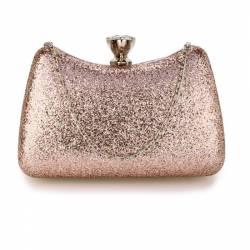 Geanta clutch roz din acrilic metal Leesun de dama AGC00360 Genti de plaja