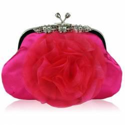 Geanta clutch roz din satin Leesun de dama LSE00143 Genti de plaja