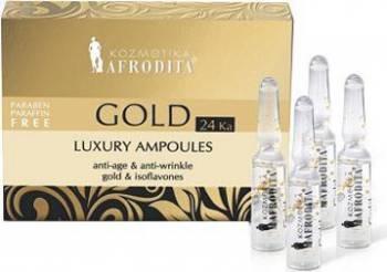 Ser Cosmetica Afrodita Gold 24k Luxury Fiole Tratamente, serumuri