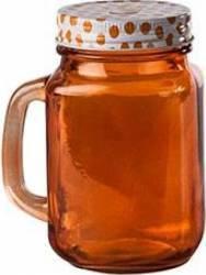 Halba tip borcan rosie + capac perforat, 400 ml Portocalie Articole pentru servit