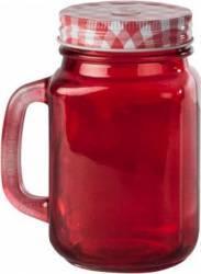 Halba tip borcan rosie + capac perforat, 400 ml Rosie Articole pentru servit