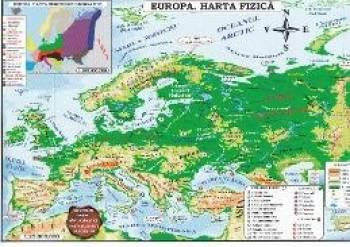 Harta Europa Politica + Fizica Pliata