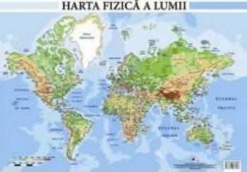 Harta fizica a lumii - Plansa A2 Carti