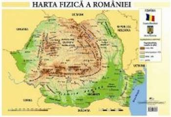 Harta fizica a Romaniei - Plansa A2