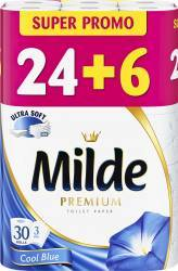 Hartie igienica Milde Ultra Soft - Cool Blue 24+6 role gratis