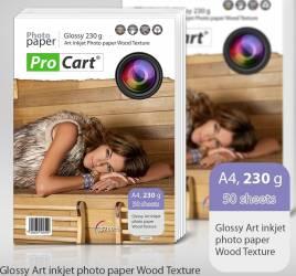 Hartie Procart FOTO Art A4 Glossy cu textura de lemn 230gr Hartie