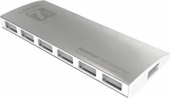 Hub Ldnio DL-H7 High Speed Super Slim cu 7 porturi USB 2.0 si cablu Micro USB Argintiu USB Hub
