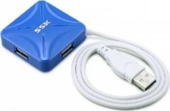Hub UPS SSK SHU027 4 x USB 2.0 Blue USB Hub