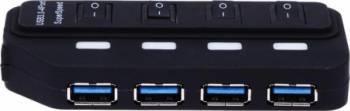 Hub USB OEM 4 porturi 3.0 Negru USB Hub