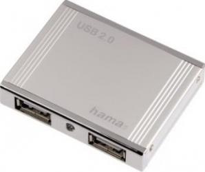 Hub USB Hama Aluminium 4 porturi USB 2.0 White USB Hub