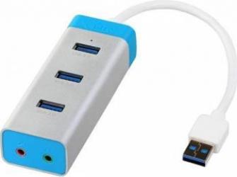 Hub USB i-Tec 3 porturi cu adaptor Audio USB Hub