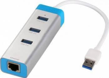 Hub USB i-Tec 3 porturi cu adaptor Gigabit Ethernet USB Hub