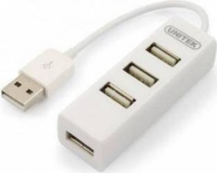 Hub USB Unitek USB 2.0 mini 4 porturi Alb USB Hub