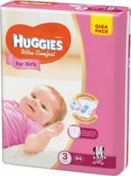 Scutece Huggies Ultra Confort Giga Pack 3 Girl 5-9 kg 94 buc scutece si servetele